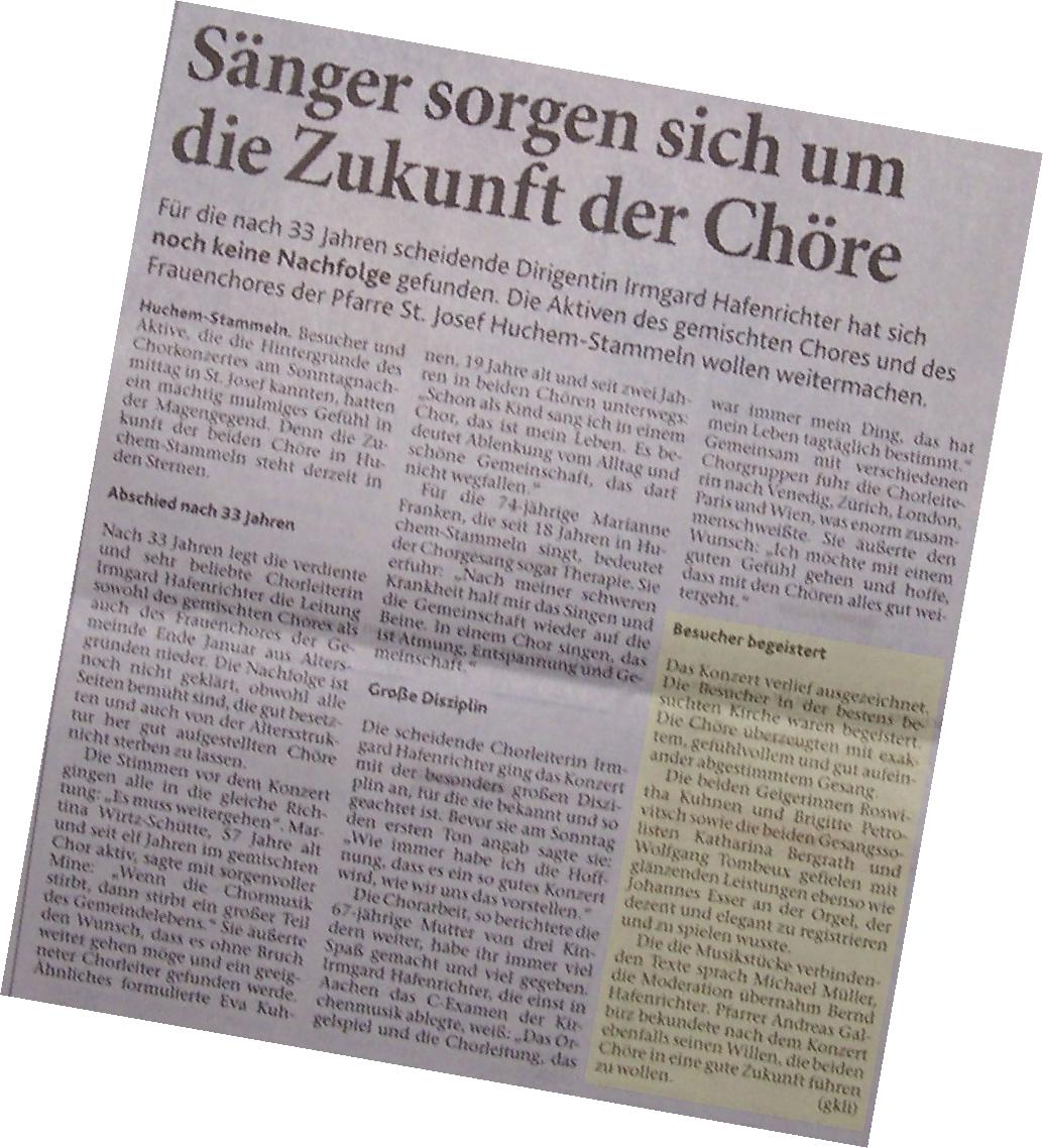 Tagespresse thematisiert Sorgen der Chöre