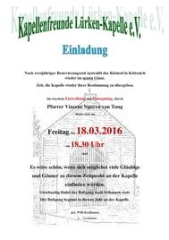 Einladung zur Einweihung und Einsegnung der Lürken-Kapelle