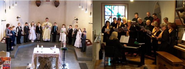 """Kommunionkinder und Chor """"Spirits of Ham-O-Nie"""" beim Eröffnungslied"""